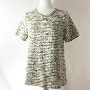 Anthropologie Striped Metallic Short Sleeve Size M